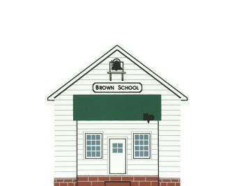 "Vintage Brown School from Ohio Amish Series handcrafted from 3/4"" thick wood by The Cat's Meow Village in the USA"