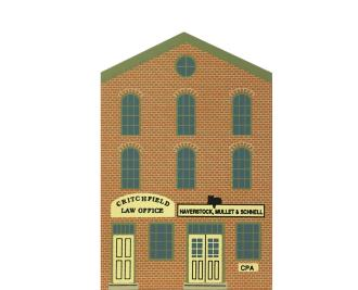 "Vintage CPA/Law Office from Series IX handcrafted from 3/4"" thick wood by The Cat's Meow Village in the USA"
