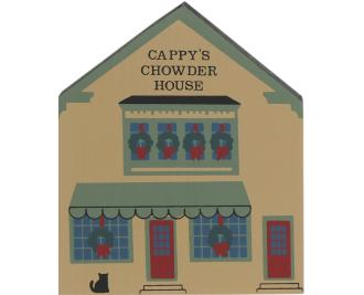 "Vintage Cappy's Chowder House from Maine Christmas Series handcrafted from 3/4"" thick wood by The Cat's Meow Village in the USA"