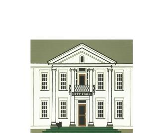 "Vintage City Hall from Series IX handcrafted from 3/4"" thick wood by The Cat's Meow Village in the USA"