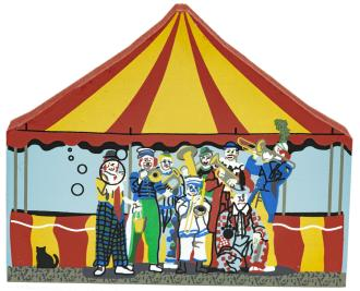 "Vintage Clowns from Circus Series handcrafted from 3/4"" thick wood by The Cat's Meow Village in the USA"