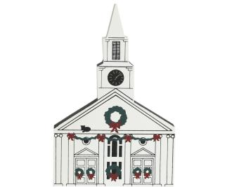 "Vintage Damariscotta Church from Maine Christmas Series handcrafted from 3/4"" thick wood by The Cat's Meow Village in the USA"