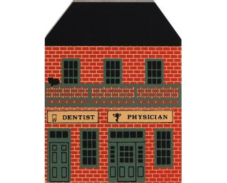 "Vintage Dentist/Physician Office from Series V handcrafted from 3/4"" thick wood by The Cat's Meow Village in the USA"