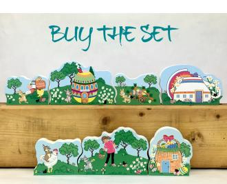 """Save $7 when you purchase our Cottontail Path Collection as a set. Add to your Easter decor. Handcrafted from 3/4"""" thick wood by The Cat's Meow Village in Wooster, Ohio."""