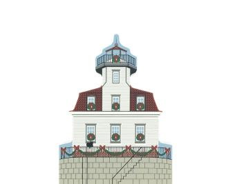 "Vintage Esopus Meadows Lighthouse from Hudson River Valley Christmas Series handcrafted from 3/4"" thick wood by The Cat's Meow Village in the USA"