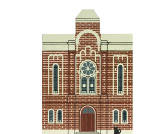 """Vintage First Baptist Church from Series VI handcrafted from 3/4"""" thick wood by The Cat's Meow Village in the USA"""