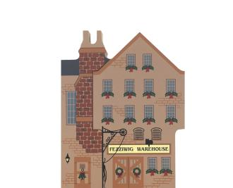 """Vintage Fezziwig Warehouse from Dickens Christmas Carol Series handcrafted from 3/4"""" thick wood by The Cat's Meow Village in the USA"""