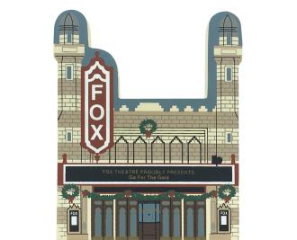 "Vintage Fox Theatre from Atlanta Christmas Series handcrafted from 3/4"" thick wood by The Cat's Meow Village in the USA"