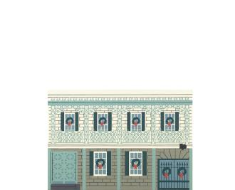 "Vintage Gallier House from New Orleans Christmas Series handcrafted from 3/4"" thick wood by The Cat's Meow Village in the USA"
