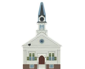 "Vintage Harrington Methodist Church from New England Church Series handcrafted from 3/4"" thick wood by The Cat's Meow Village in the USA"