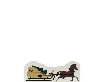 "Vintage Horse & Sleigh from Accessories handcrafted from 1/2"" thick wood by The Cat's Meow Village in the USA"