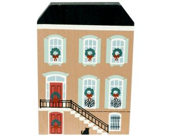 "Vintage J. J. Dale Row House from Savannah Christmas Series handcrafted from 3/4"" thick wood by The Cat's Meow Village in the USA"