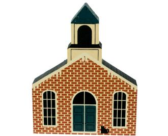 "Vintage Jackson Township Hall from Roscoe Village Series handcrafted from 3/4"" thick wood by The Cat's Meow Village in the USA"