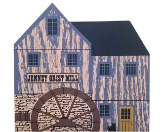"Vintage Jenney Grist Mill from Tradesman Series handcrafted from 3/4"" thick wood by The Cat's Meow Village in the USA"