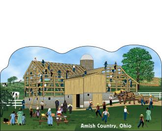 Cat's Meow Amish Barn Raising Scene Ohio, Amish Life Collection