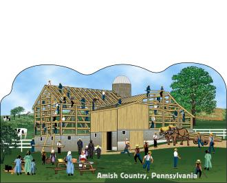 Cat's Meow Amish Barn Raising Scene Pennsylvania, Amish Life Collection