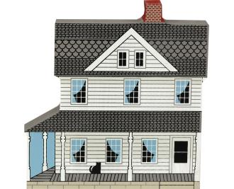 Cat's Meow handcrafted wooden keepsake of an Amish home with simple blue curtains.