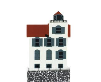 "Vintage Lorain Lighthouse from Nautical Series handcrafted from 3/4"" thick wood by The Cat's Meow Village in the USA"
