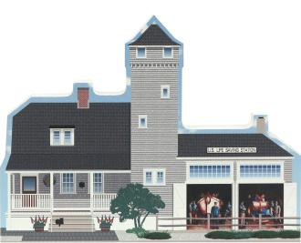 Wooden shelf sitter replica of the Tatham Life Saving Station in Stone Harbor, NJ handcrafted in the U.S. by The Cat's Meow Village