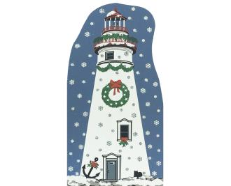 "Vintage Marblehead Lighthouse from Lighthouse Christmas Series handcrafted from 3/4"" thick wood by The Cat's Meow Village in the USA"