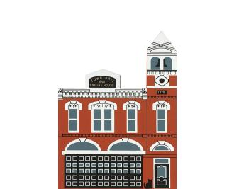 "Vintage Medina Firehouse from Series VIII handcrafted from 3/4"" thick wood by The Cat's Meow Village in the USA"