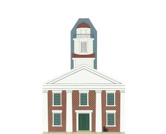 """Vintage Metamora Courthouse from Mt. Rushmore Presidential Series handcrafted from 3/4"""" thick wood by The Cat's Meow Village in the USA"""