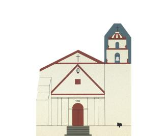 "Vintage Mission San Buenaventura from California Mission Series handcrafted from 3/4"" thick wood by The Cat's Meow Village in the USA"