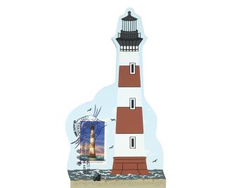"Morris Island Lighthouse w/ USPS Lighthouse Stamp from Southeastern Lighthouse Series handcrafted from 3/4"" thick wood by The Cat's Meow Village in the USA"