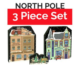 "Save $1.50 when you purchase this North Pole collection as a set. Handcrafted of 3/4"" thick wood by The Cat's Meow Village in the USA."