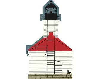 Handcrafted wooden shelf sitter of St. Joseph Lighthouse created by The Cat's Meow Village
