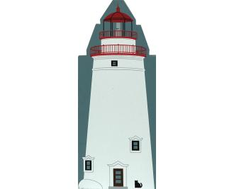 Wooden handcrafted keepsake of Marblehead Lighthouse created by The Cat's Meow Village