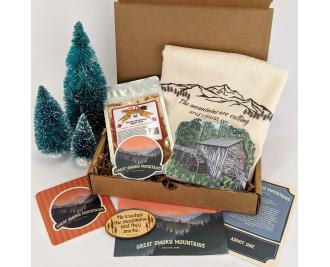 Great Smoky Mountain National Park Traveler Experience box by The Cat's Meow Village. Curated USA products.