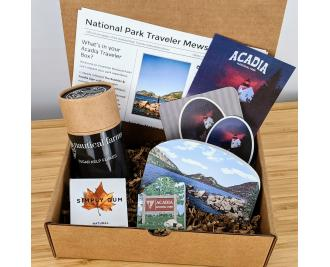 This Acadia National Park box includes 2 Cat's Meow souvenirs, The Bubbles and the park sign, along with locally harvested sea kelp flakes.