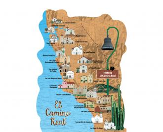 """Beautifully detailed map of the El Camino Real, Alta California. Handcrafted in the USA 3/4"""" thick wood by Cat's Meow Village."""