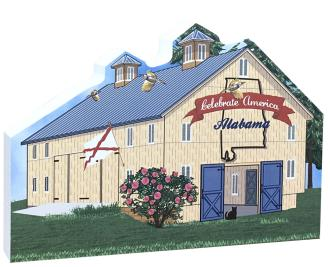Show your state pride with this Alabama state barn. We've included all the state symbols within the design. Handcrafted by The Cat's Meow Village in the USA.