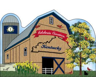 Kentucky State Barn including the state flag along with other state facts. The Bluegrass State.