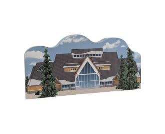Wooden replica of Old Faithful Visitor Center, Yellowstone National Park, Wyoming. Add it to your home decor to remind you of your trip to Yellowstone. Handcrafted by The Cat's Meow Village in the USA.