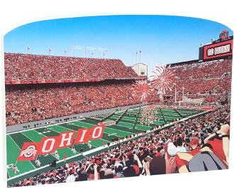 """Game day team entry scene at an Ohio State Football game. Go Bucks! Handcrafted of 3/4"""" thick wood by The Cat's Meow Village in Ohio."""