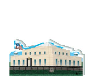 "Replica of Fort Knox US Bullion Depository located at Fort Knox, Kentucky. Handcrafted of 3/4"" thick wood by The Cat's Meow Village in the good ole USA."