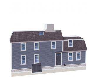 "Front of a replica of the Narbonne House, Salem, MA handcrafted in 3/4"" thick wood by The Cat's Meow Village in the USA."