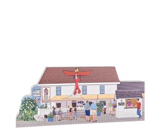 "Wonderfully detailed front of Mac's Shack with the lobster man on the roof, Wellfleet, Cape Cod, MA. Handcrafted in the USA 3/4"" thick wood by Cat's Meow Village."