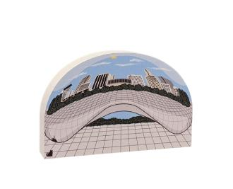 "Cloud Gate, the Bean, Millennium Park, Chicago, Illinois. Handcrafted in the USA 3/4"" thick wood by Cat's Meow Village."