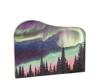 Beautifully colored scene of the Northern Lights, Alaska.  Handcrafted in the USA by the Cat's Meow Village.