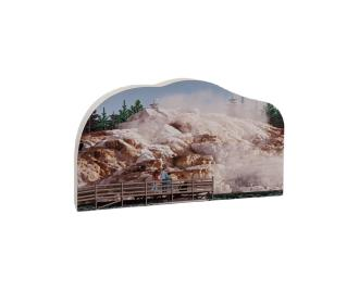 "Replica of Mammoth Hot Springs in Yellowstone National Park. Handcrafted in 3/4"" thick wood to set on a shelf, desk or windowsill to remind you of that special trip. Handcrafted in the USA by The Cat's Meow Village."