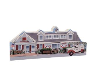 "Lovely detailed replica of the Sundae School Ice Cream shop, Dennis Port, Cape Cod, MA.  Handcrafted in the USA 3/4"" thick wood by Cat's Meow Village."