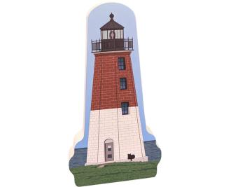 "Colorful replica of Point Judith LIghthouse, Narragansett, Rhode Island.  Handcrafted in the USA 3/4"" thick wood by Cat's Meow Village."