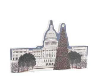 "West view of the US Capitol in Washington DC at Christmastime. Includes glittery accents on the trees. Handcrafted by The Cat's Meow Village from 3/4"" thick wood in Wooster, Ohio."