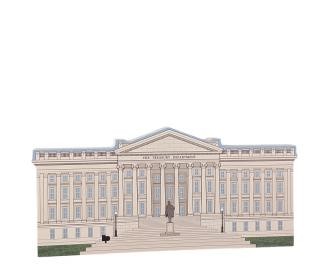 Detailed replica of the US Department of the Treasury, Washington, DC.  Handcrafted by the Cat's Meow Village in the USA.