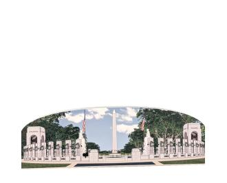 "World War II Memorial, Washington Monument View, Washington DC. Handcrafted in the USA 3/4"" thick wood by Cat's Meow Village."