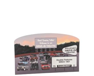 """Replica of the Wellfleet Drive-In Theatre on Cape Cod, Massachusetts handcrafted in 3/4"""" wood by the Cat's Meow Village in Wooster, Ohio."""
